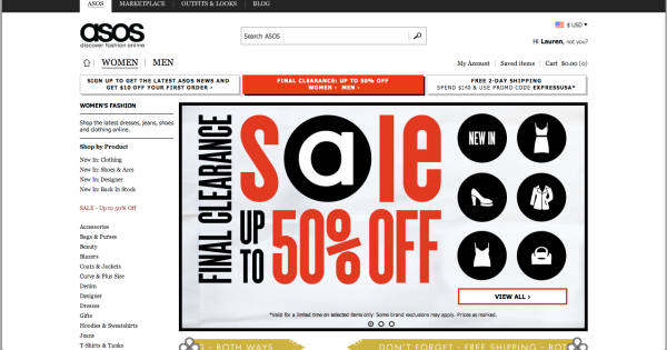 ASOS website front