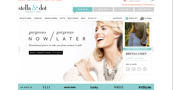 Stell & Dot website front
